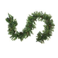 "9' x 14"" Pre-Lit Dakota Red Pine Artificial Christmas Garland - Clear Dura Lights - green"
