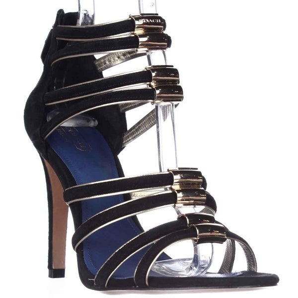 New Trendy Coach Lanice Strappy Dress Sandals - Black For Women Sale