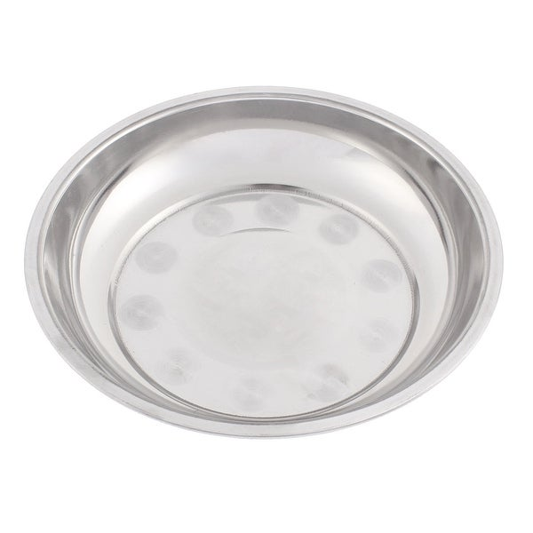 shop unique bargains silver tone stainless steel dinner plate dish food fruit holder container. Black Bedroom Furniture Sets. Home Design Ideas