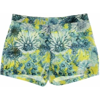 Lucy Paris Womens Textured Floral Print Casual Shorts