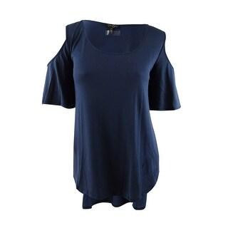 Jessica Simpson Women's Plus Size Cold-Shoulder T-Shirt (3X, Dress Blues) - dress blues - 3x