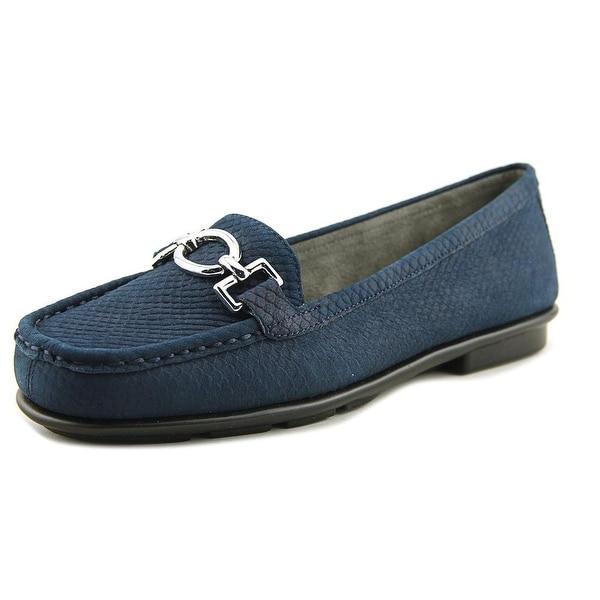 Aerosoles Hazelnut Women Moc Toe Leather Blue Loafer