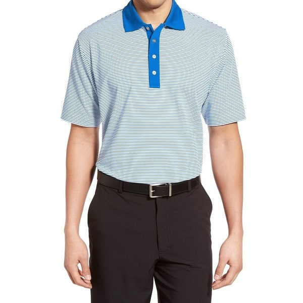 Lone Cypress New Blue Striped Mens Medium M Pebble Beach Golf Polo Shirt