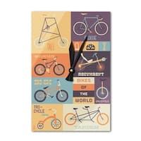 Bicycle of the World - Lantern Press Artwork (Acrylic Wall Clock) - acrylic wall clock