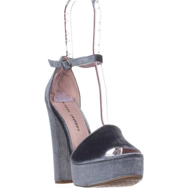 Chinese Laundry Ace Platform Dress Sandals, Steel Blue Velvet - 9 us / 40 eu