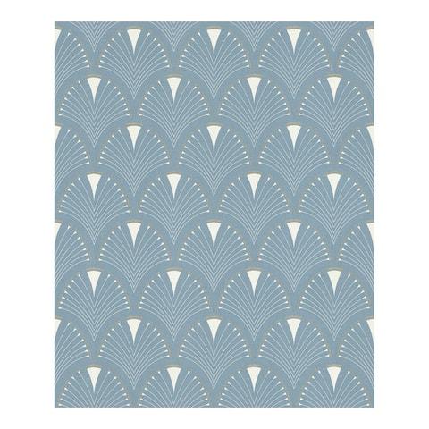 Ruhlmann Blue Fan Wallpaper - 20.5 x 396 x 0.025