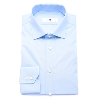 Pierre Balmain Men Slim Fit Cotton Dress Shirt Solid Light Blue