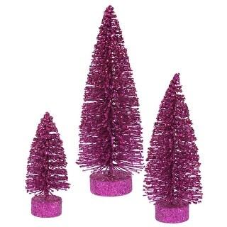 "5""-7""-9"" Magenta Glitter Oval Tree Set"