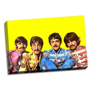 The Beatles Sgt Pepper Group Pose Yellow Background 24x36 Stretched Canvas