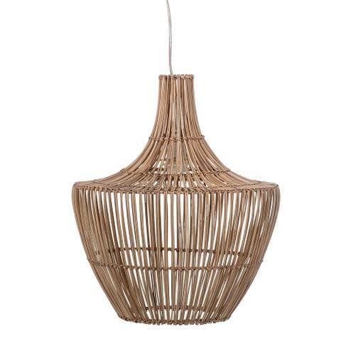 Round Wicker Pendant Light - Natural