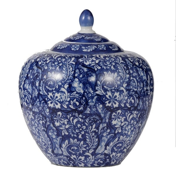 """9.75"""" Blue and White Floral Ginger Jar with Lid - N/A"""