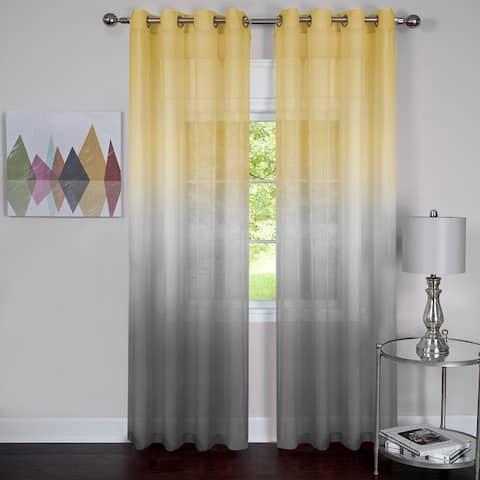 Semi Sheer Ombre Single Curtain Panel