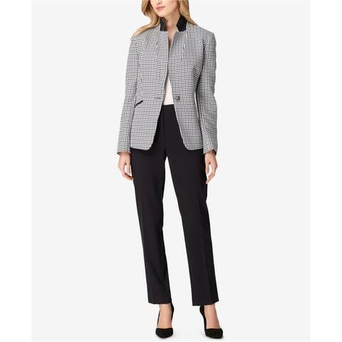 Tahari Womens Houndstooth One Button Blazer Jacket, Blue, 14