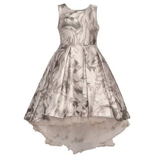 Bonnie Jean Little Girls Gray Flower Print Mesh Underlayer Hi-Low Dress