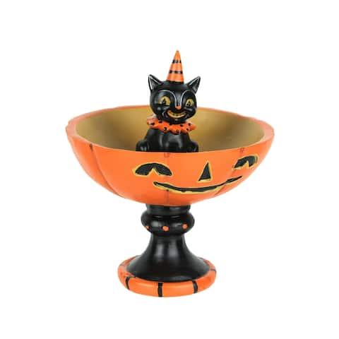 Johanna Parker Vintage Style Black Cat and Pumpkin Halloween Pedestal - 6.75 X 5.75 X 5.75 inches