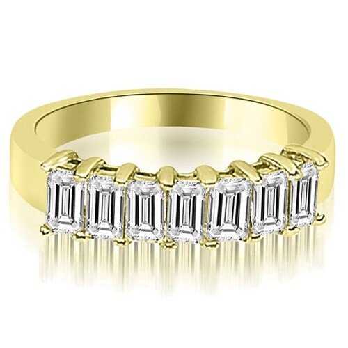 1.75 cttw. 14K Yellow Gold Emerald Diamond Classic 7-Stone Prong Wedding Band