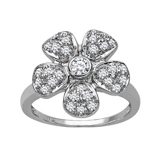 Flower Ring with Swarovski Crystal in Sterling Silver - White