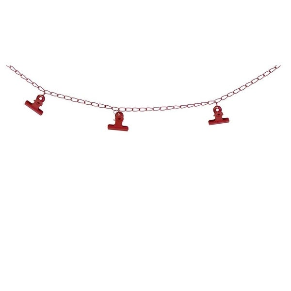 Pack of 6 Decorative Red Metal Chain Christmas Garland with Clips 48""