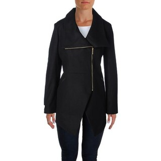 French Connection Womens Coat Contrast Trim Asymmetric