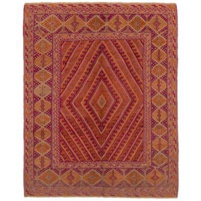 ECARPETGALLERY Hand-knotted Tajik Caucasian Orange, Purple Wool Rug - 4'11 x 6'4