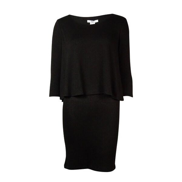 Bar III Women's 3/4 Sleeve Layered Dress - Anthracite