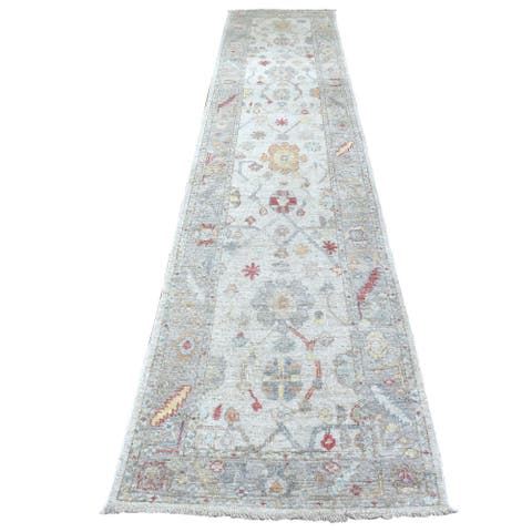 """Shahbanu Rugs Pure Wool Light Gray With Colorful Motifs Hand Knotted Oushak Oriental XL Runner Rug (2'9"""" x 14'3"""") - 2'9"""" x 14'3"""""""