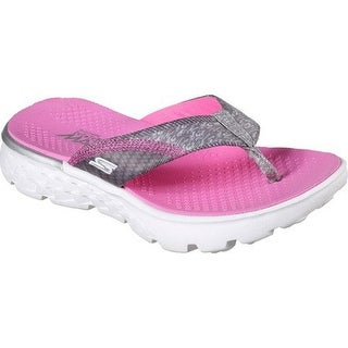 Skechers Girls' On The Go 400 Lil Pizazz Flip-Flop,Gray/Pink,Us 5 M