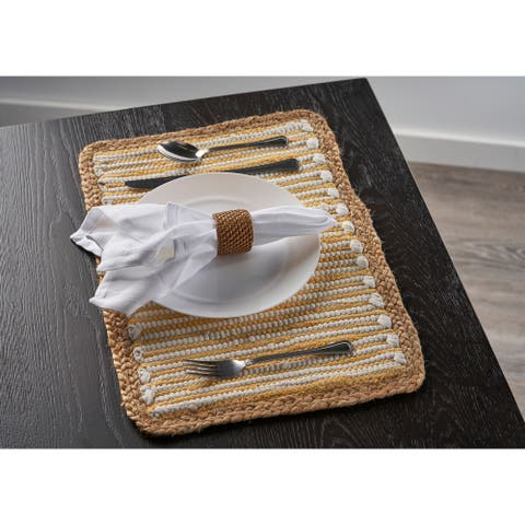 """Striped Sunny Day Bordered Place Mat - 1'-1"""" X 1'-7"""""""