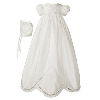 Baby Girls White Silk Hand Embroidered Bonnet Christening Dress Gown