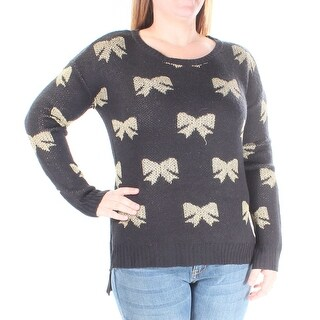 RAMPAGE $148 Womens New 1158 Black, Gold Bows Long Sleeve Sweater L B+B