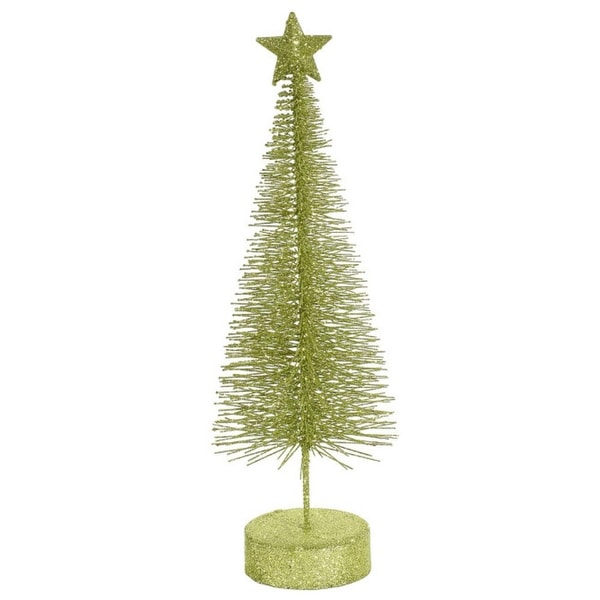 """Pack of 2 Green Kiwi Glitter Sisal Artificial Table-Top Christmas Trees 8"""""""