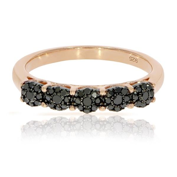 Fabulous 0.32 Carat Round Brilliant Cut Black Diamond Five Cluster Ring