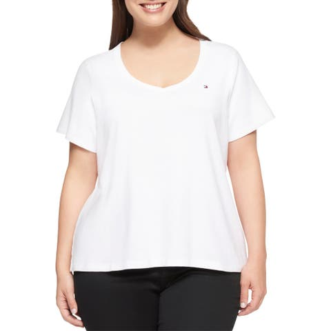 Tommy Hilfiger Womens Plus Casual Top Ribbed Trim V-Neck
