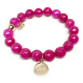 """Fuchsia Quartz Love Disc Gold Charm Emma 7"""" Bracelet"""
