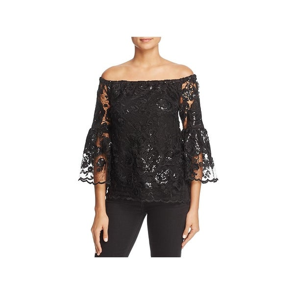Vince Camuto Womens Pullover Top Off-The-Shoulder Lace