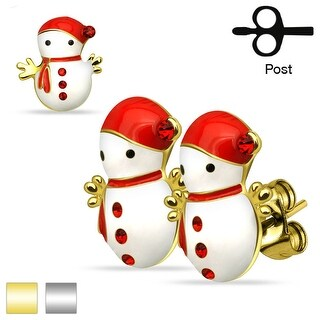 Pair of Christmas Snowmen 316L Stainless Steel Stud Earrings