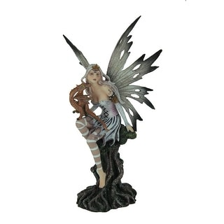 Black and White Forest Fairy Sitting with Baby Red Dragon Statue - 10.5 X 5.5 X 5.5 inches