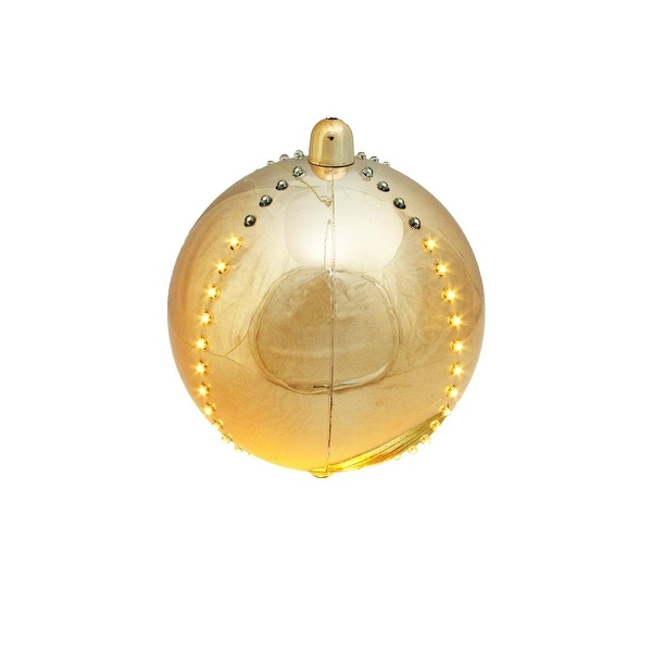 """7.5"""" LED Lighted Cascading Copper Gold Sphere Christmas Ball Decoration - CLEAR"""