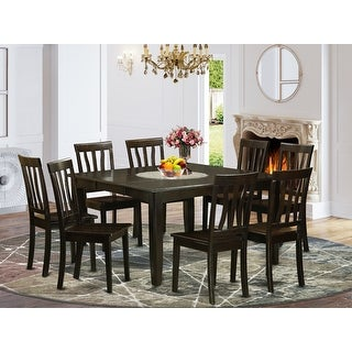 Link to Cappuccino Finish Solid Rubberwood 9-Piece Dining Set Similar Items in Dining Room & Bar Furniture
