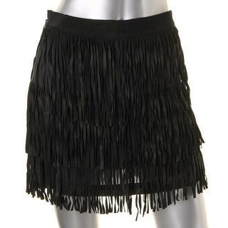 Alice + Olivia Womens Leather Fringe Mini Skirt - 4