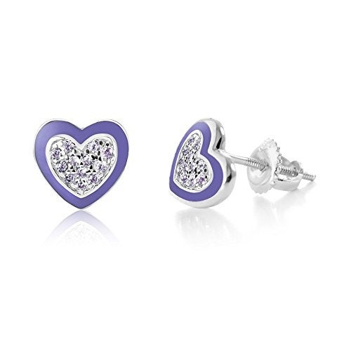 New White Gold Tone Purple Enamel CZ Heart Secure Screw Back Children Earrings
