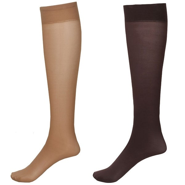 Mild Support 2 Pair Knee High Trouser Socks with 8-15 mmHg Compression - Nude/Brown - Medium
