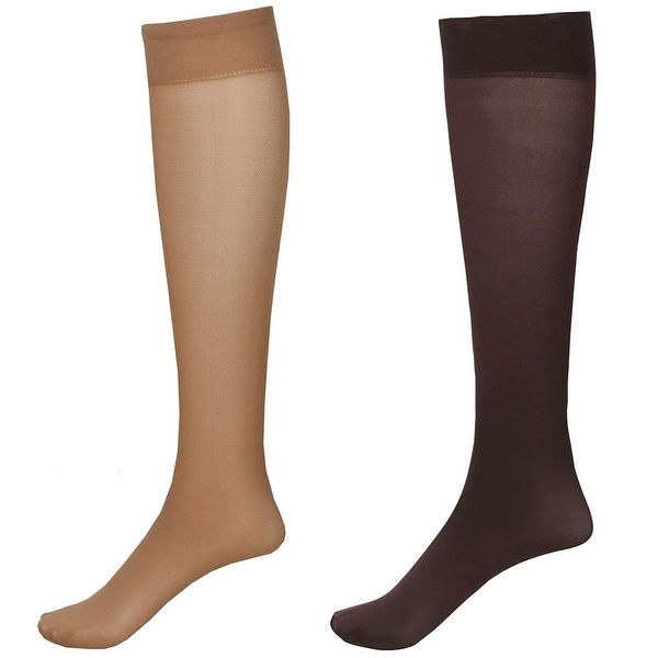 Moderate Compression 2 Pair Knee Highs - Wide Calf - Nude/Brown