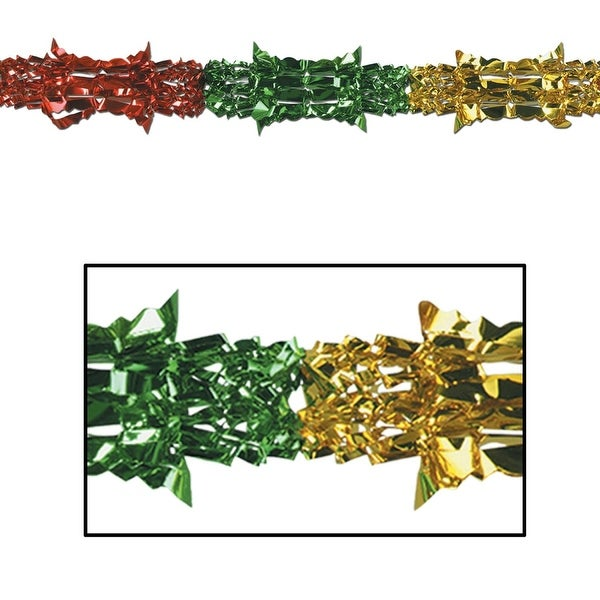club pack of 12 gold green and red christmas garland party decorations 9x27
