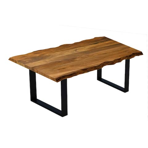 Live Edge Acacia Wood Dining Table with Black Metal Legs