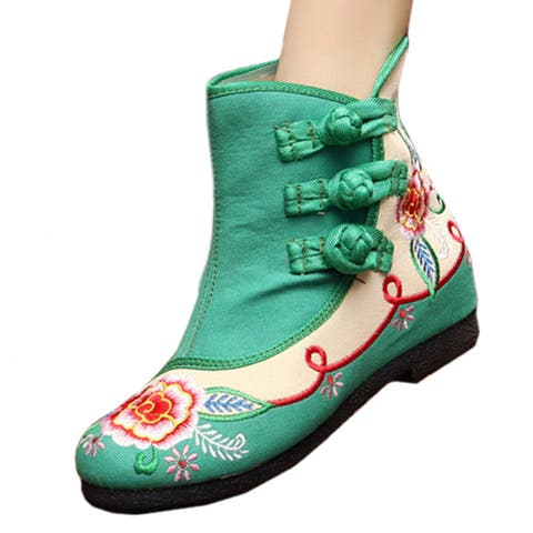 Vintage Beijing Cloth Shoes Embroidered Boots - 37/green - 37