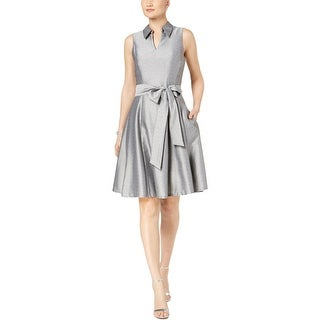 Signature By Robbie Bee Womens Petites Party Dress Metallic Collared