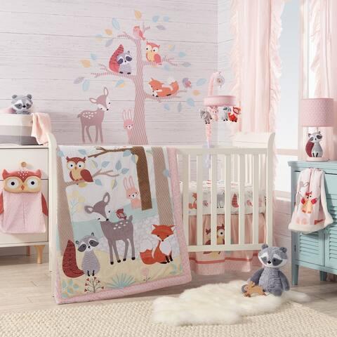 Lambs & Ivy Little Woodland Forest Animals Coral Nursery 4-Piece Baby Crib Bedding Set