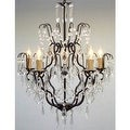 Swarovski Elements Trimmed Wrought Iron & Crystal ChandelierIncludes Swag Plug In Chandelier Lighting Kit - Thumbnail 0