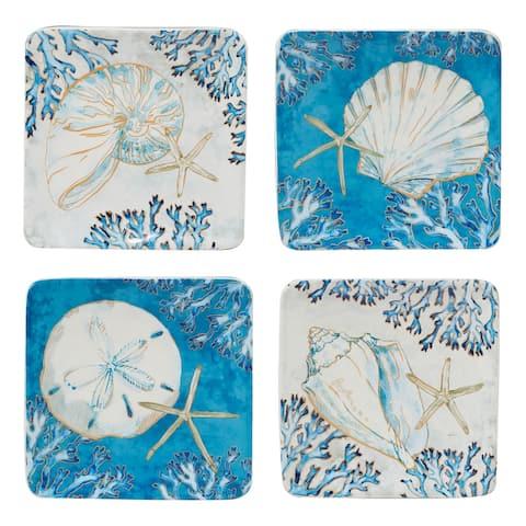 Certified International Playa Shells 6-inch Canape/Luncheon/Dessert Plates, Set of 4
